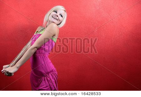 colorful portrait of a beautiful teenager -  Lots of copyspace and room for text available