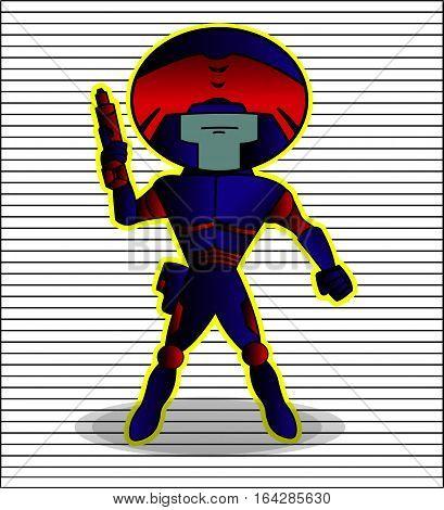 Robot Futuristic Police Blue Red Armor Cartoon Character. Vector Illustration.