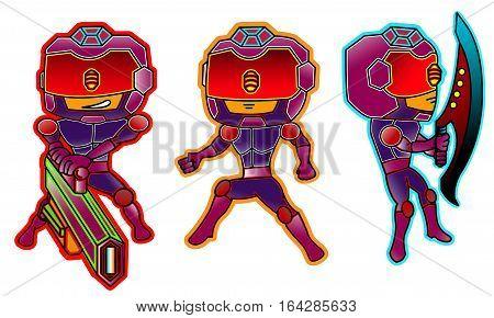 Robot Futuristic Police Set Cartoon Character. Vector Illustration.