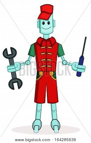Robot Mechanic with Wrench and Screwdriver Cartoon.