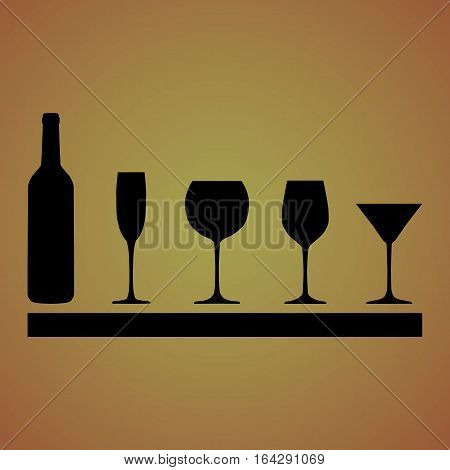 Outlines of wine bottle, wine glasses, champagne and martini on a beautiful background.