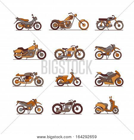 Motorcycle icons set super graphic style. Vector illustrations of different type motorcycles.