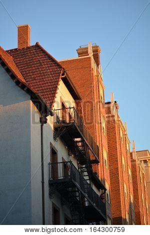 Beacon Hill Boston Massachusetts sun reflecting buildings