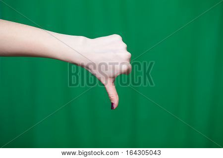 The Thumb Points Down Female Hand