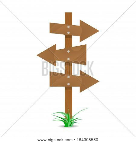 Wooden arrows nailed. Arrows vector and wooden arrow sign illustration