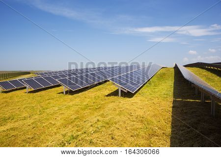 Solar panels with sunset field and blue sky