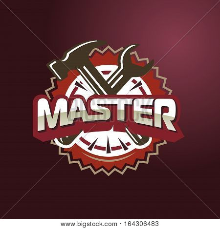 Logo Master lettering Brand symbol service mark on a dark background. Vector illustration - text master, hammer and wrench. For appliance repair, repair shoes, repair cars.