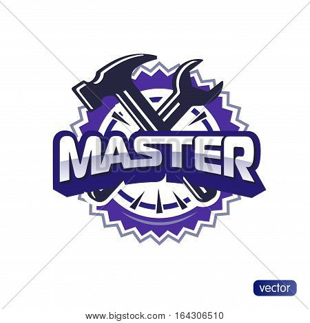 Logo Master lettering Brand symbol service mark. Isolated on white background. Vector illustration - embossed text master, hammer and wrench. For appliance repair, repair shoes, repair cars.
