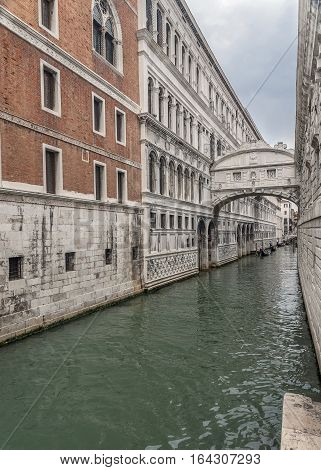 The ancient city of Venice is in Italy on the Gulf of Venice. Bridge of Sighs .