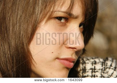 Woman Looking Annoyed And Suspicious