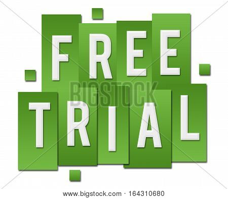 Free trial text alphabets written over green background.