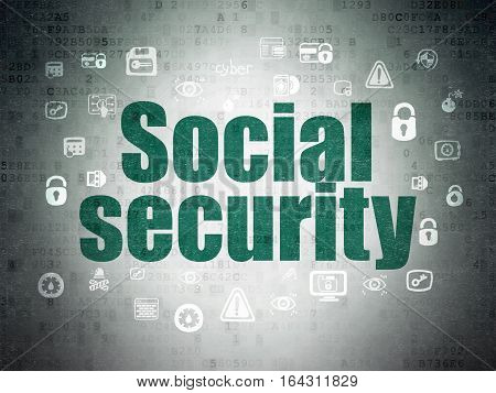 Privacy concept: Painted green text Social Security on Digital Data Paper background with  Hand Drawn Security Icons