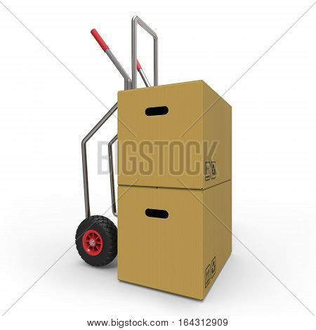 Hand truck with cardboard Boxes on white background 3D rendering