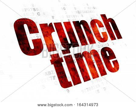 Business concept: Pixelated red text Crunch Time on Digital background