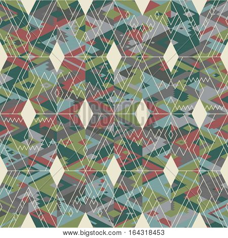 Seamless geometric vector pattern of triangles in hipster style. Pale green and red shades. White thin line ornament with rhombuses in foreground.