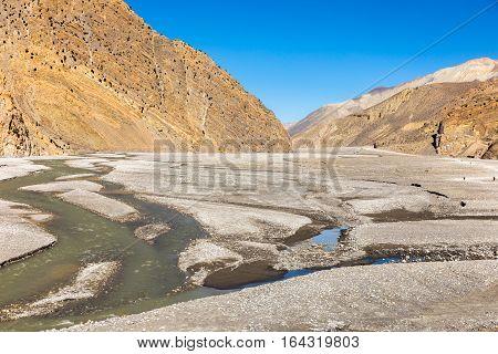Kali Gandaki river Jomsom Mustang region Himalayas Nepal