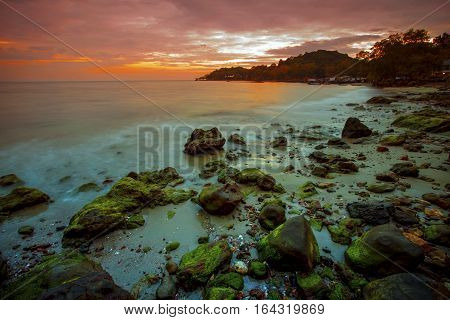 sun set sky at wang kaew beach rayong province eastern of thailand