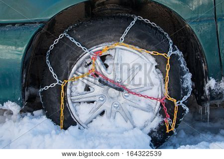 Chains Snow For The Wheel Car, Deep Snowy Winter