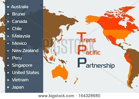 Vector infographic of trans-pacific partnership. Web concept. World map with twelve countries members of the trade agreement. The list on the left. In flat style.