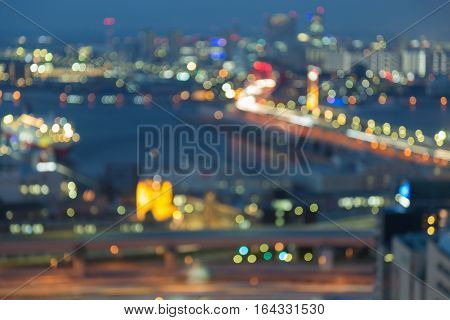 Twilights Kobe city downtown blurred lights night view abstract background