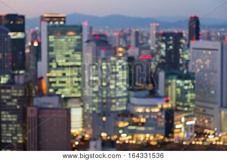 Abstract blurred lights Osaka city central business downtown