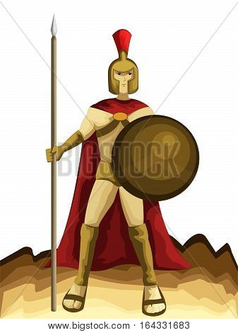 Spartan Army with Spear and Shield Cartoon Character. Vector Illustration.