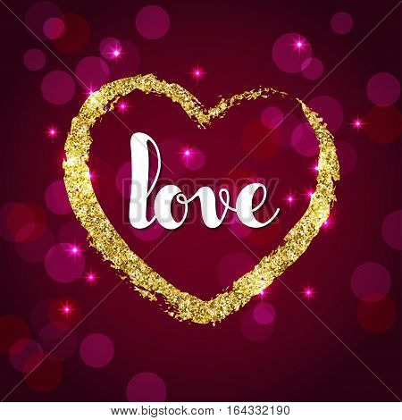 Handwriting word love and golden glitter heart on burgundy background. Valentines Day greeting card design template.