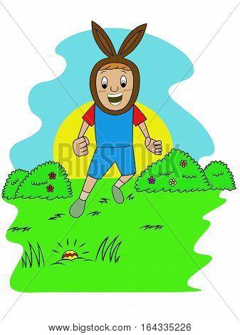 Happy Kid Finding Egg on Easter Hiding Eggs Game Cartoon Illustration