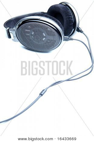 hi-end stereo headphones on white background