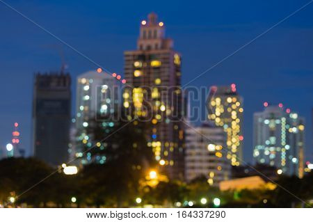 City blurred bokeh lights night view abstract background