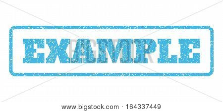 Light Blue rubber seal stamp with Example text. Vector tag inside rounded rectangular banner. Grunge design and unclean texture for watermark labels. Horisontal sticker on a white background.