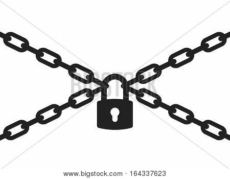 Padlock and metal chain icon concept of protection. Vector illustration.