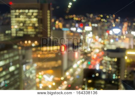 Blurred lights city of Kobe central business downtown abstract background