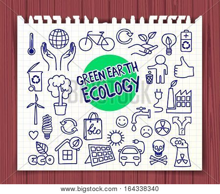 Green Earth Ecology doodle set. Hand drawn graphic elements hands holding planet Earth, energy saving light bulb, solar panel, factory air pollution, recycle bio and eco symbols. Vector illustration.