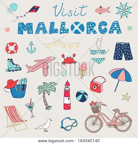 Set of hand drawn vector doodles of Mallorca Balearic islands Spain.