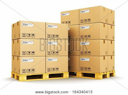 3D render illustration of the group of stacked corrugated cardboard boxes on wooden industrial shipping pallets isolated on white background