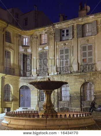 Lovely fountain (Albertas  Fontaine d'Albertas) in Aix-en-Provence, France.