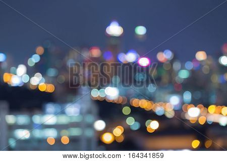 Night blurred lights city downtown abstract background