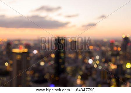 Abstract blurred bokeh lights Osaka city downtown skyline