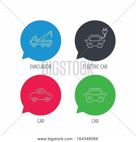Colored speech bubbles. Electric car, evacuator and transport icons. Car linear signs. Flat web buttons with linear icons. Vector