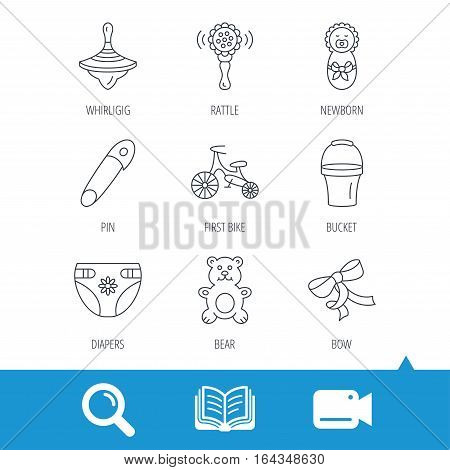 Newborn, diapers and bear toy icons. First bike, bow and pin linear signs. Rattle, whirligig and bucket flat line icons. Video cam, book and magnifier search icons. Vector