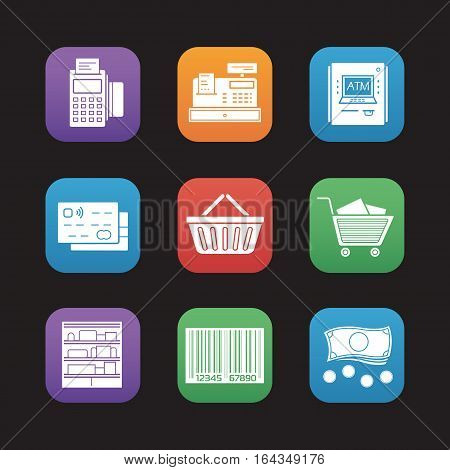 Supermarket flat design icons set. Pos terminal, cash register, bank atm machine, credit card, shopping basket and cart, shop shelves, barcode, cash. Vector