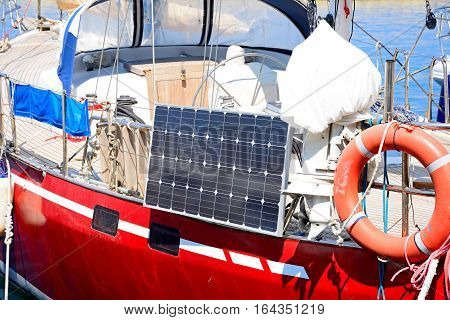 CHANIA, CRETE - SEPTEMBER 16, 2016 - Solar panel on the side of a yacht in the harbour Chania Crete Greece Europe, September 16, 2016.