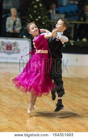 Riga Latvia- December 16 2016: Unidentified Dance Couple Performs Juvenile-1 Standard European Program on the WDSF Baltic Grand Prix-2106 Championship in December 16 2016 in Riga Latvia.