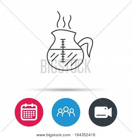Coffee kettle icon. Hot drink pot sign. Group of people, video cam and calendar icons. Vector