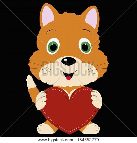 icon cute kitten holding a red heart frame on black background. template for greeting card on Valentine's day or baby shower or arrival. vector illustration