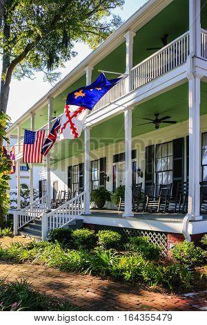 Fernandina Beach, FL, USA - Sept 7: Classic Revival Lesesne House on Ash Street in the historic district of Fernandina Beach City in Florida