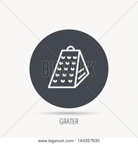 Grater icon. Kitchen tool sign. Kitchenware slicer symbol. Round web button with flat icon. Vector