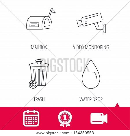 Achievement and video cam signs. Mailbox, video monitoring and water drop icons. Trash bin linear sign. Calendar icon. Vector