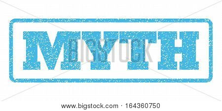 Light Blue rubber seal stamp with Myth text. Vector message inside rounded rectangular banner. Grunge design and unclean texture for watermark labels. Horisontal sign on a white background.